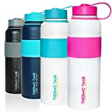 Thermo Tank Insulated Stainless Steel Water Bottle - Ice Cold 36 Hours! Vacuum + Copper Technology - SS Inner Lid, Silicone Grip - 40 Ounce (White + Pink, 40oz)
