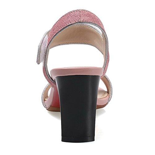 in Heels High Klettverschluss Pink Toe AgooLar Frosted Sandalen Open Damen qwxq6pPOF