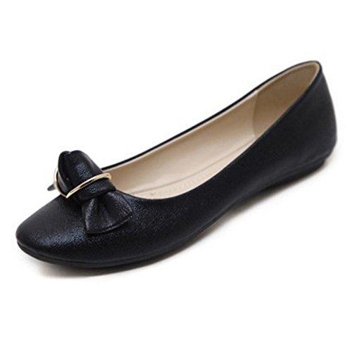 T-july Womens Flats Chaussures Noeud Avant Confortable Bout Rond Robe Slip Sur Noir