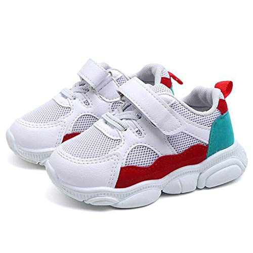 Baby Child Boys and Girls Color Cartoon Bear Unique Grid Running Sneakers Sports Shoes Casual Shoes(White,22) ()