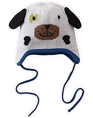 Organic Baby Earflap Cap - Pip The Dog (0-12 Months)