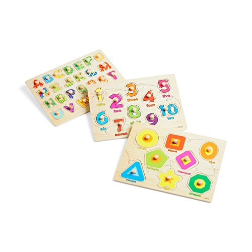 (Wooden Peg Puzzle for toddlers - 3 Piece puzzle set for kids - Alphabet ABC, Numbers and Shapes Toy - Perfect pegged puzzles for kid learning letters, number, shape board puzzles for toddler ages 3+)