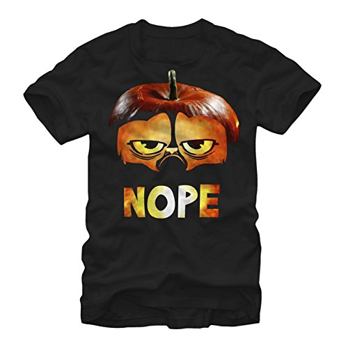 Grumpy Cat Men's Halloween Pumpkin Nope Black T-Shirt ()