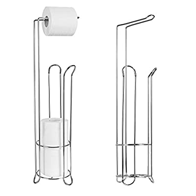(US Stock)Stainless Steel Toilet Paper Roll Stand Holder,Bathroom Free Standing Roll Stand Plus with Shelf for Storage
