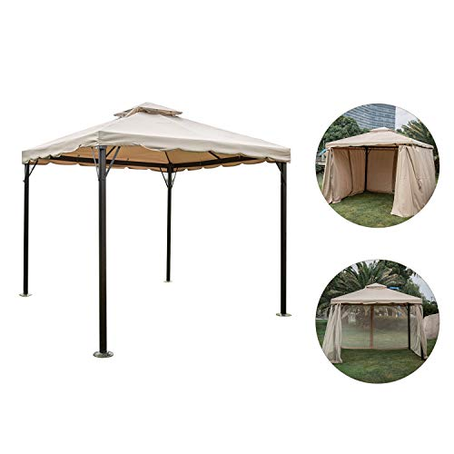 Outdoor 10x10ft Outdoor Garden Gazebo Patio Backyard Canopy Double Roof & Mosquito Netting Screen Walls | Front Porch, Sand (10'x 10′ with 4 Sidewalls, Kanki) Review