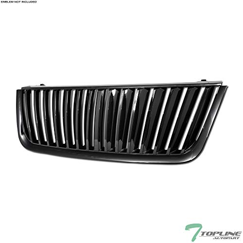 Topline Autopart Black Vertical Front Hood Bumper Grill Grille ABS For 03-06 Ford Expedition ()