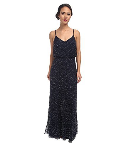 Adrianna Papell Women's Long Deco Bead Blouson, Midnight Blue, 2 ()