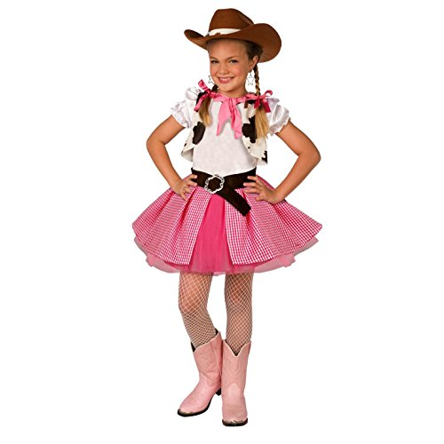 Kids Cowgirl Costume Cute Girls Pink Western Rodeo Dress Up - Large (Age -