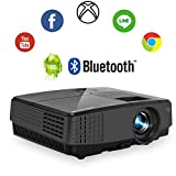 2019 LCD Smart Projector Android Wireless Mini Portable Video Projector, Suppport WiFi Airplay USB HDMI Bluetooth HD 1080P for Home Theater Basement Movies Sports Artwork Game Consoles