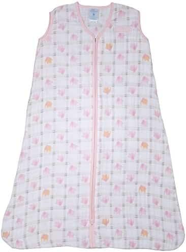 Halo 100% Cotton Muslin Sleepsack Wearable Blanket, Elephant Plaid, Large