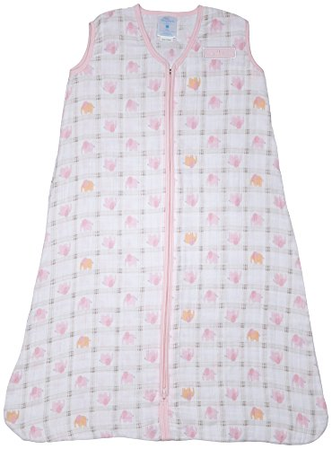 Halo 100% Cotton Muslin Sleepsack Wearable Blanket, Elephant Plaid, Large (Halo Suits For Kids)