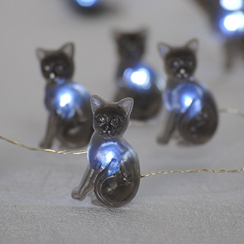Halloween String Lights, Impress Life Black Cat Themed Lights 10 ft Flexible Copper Wire 40 LEDs with Dimmable Remote & Timer for Covered Outdoor, Parties, Tent Wedding, Birthday Home Decorative Idea