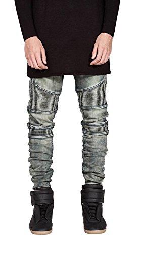 HerQueen Men Biker Jeans Elastic Moto Stretch Pants With Distressed Style Retro 34 (Clothing Designer Retro)
