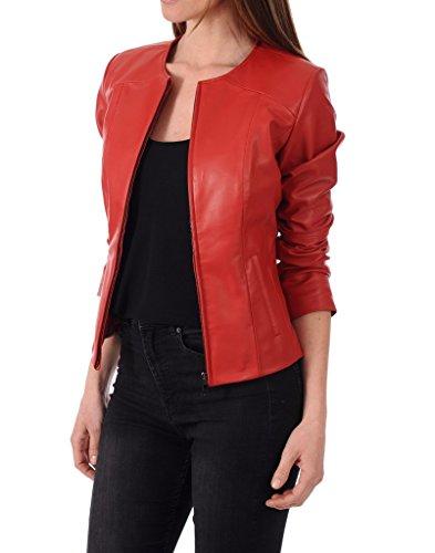 (Leather Scan Women's Lambskin Leather Moto Bomber Biker Jacket)