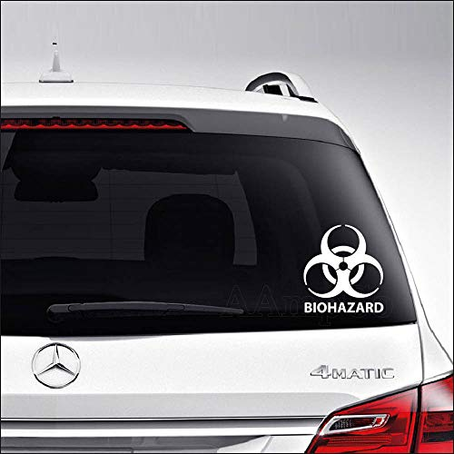 (Aampco Decals Biohazard Symbol Toxic Radioactive Waste Car Truck Motorcycle Windows Bumper Wall Decor Vinyl Decal Sticker Size- [6 inch/15 cm] Tall/Color- Matte White)