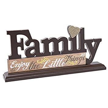 Black/Brown Wood Family Decorative Letters Tabletop Plaque