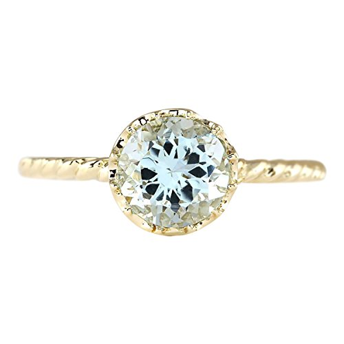 (1.5 Carat Natural Blue Aquamarine 14K Yellow Gold Solitaire Promise Ring for Women Exclusively Handcrafted in USA)