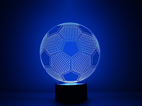 14 Soccer Ball 3D Optical Illusion Night lamp 7 Color Changing LED Light for Kids Bedroom Decor by Spencer&Webb