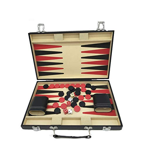 (+Urbano Backgammon Set with Travel Leatherette Carrying Case for Kids and Adults Black and Red)