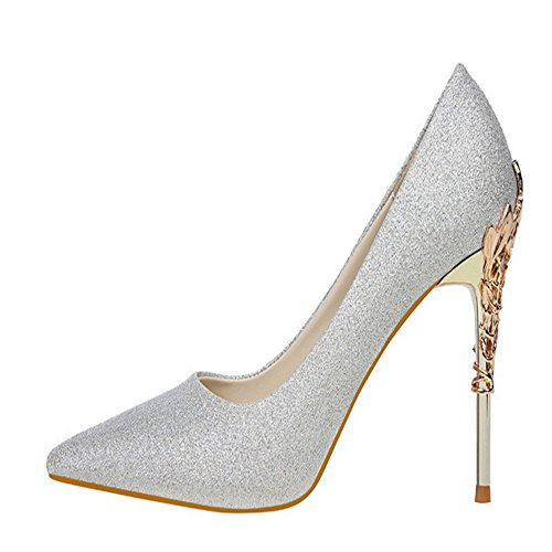 Manyis Sexy Women Party Shoes Stiletto Pointed-Toe High Heels Satin Pumps Metal Shoes Color Silver Size: US5 JSgzyRMO