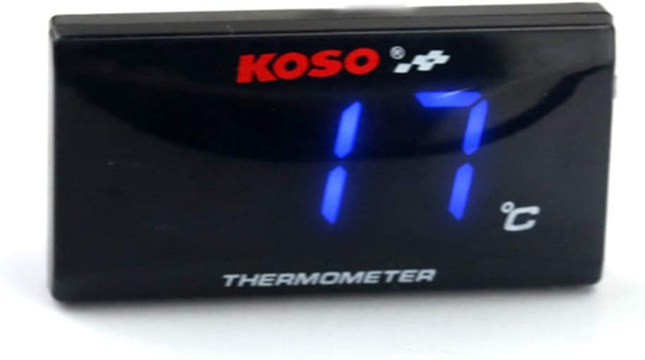Alician Motorrad Nachger/üstet Zisterne Temperaturanzeige K/ühler Thermometer Ultrad/ünne Wassertemperaturanzeige Wassertemperatur Monitor Blaues Licht Autoteile