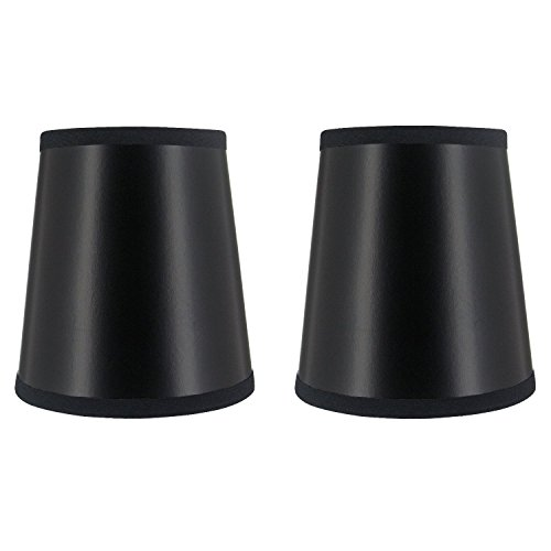 Upgradelights Set of 2 Black 4 Inch Chandelier Shade Wall Sconce Shades Barrel Drum (3x4x4.25) (Shade Barrel Pendant)