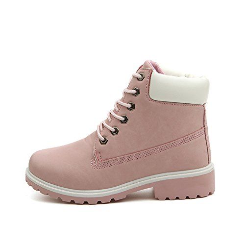Highdas Women Boots Combat Patrol Boots - Martin Army Tactical Worker Boots Ankle Outdoor Hiking Shoes Pink SbDhgQ06s