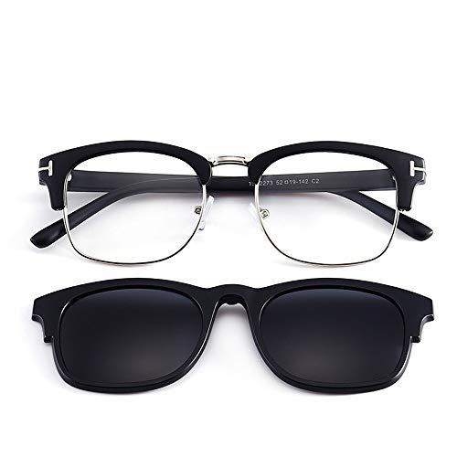 KOMNY de polarizadas Gafas para Sol Medio Sol de Hombres Marco magnéticas de Clips magnéticos miopía D de Gafas Marcos D Espejos rqY8wr