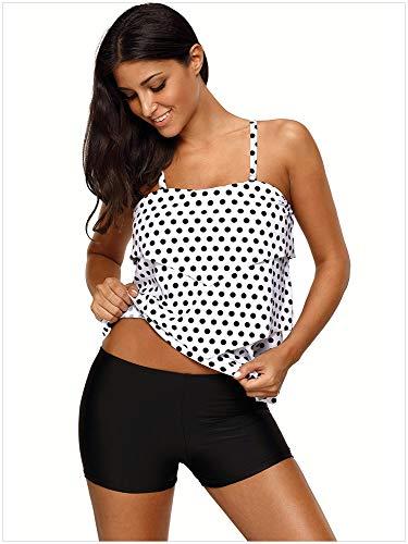 Da Bianca A Ondulate Pezzi Warm Vita Bagno Motivo Con Pois Due Sexy In Home Pantaloni Dimensione Bianco colore Onde Bikini Donna Costume Pezzi Creativo Xxl Piatta v88twqg