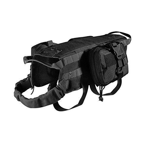 Feliscanis Tactical Dog Vest Training Molle Harness with 3 Detachable Pouches Black Size M