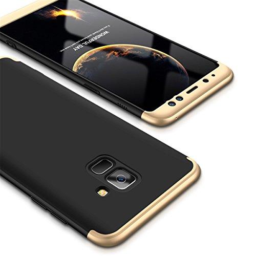 Coque Galaxy A8 2018, Galaxy A8 Plus 2018 Case 360 Protection PC 3 en 1 Full Cover Adamark Housse Integrale Bumper Etui Case Accessoires Ultra Fin Et Discret Pour Samsung Galaxy A8 / Galaxy A8 Plus 20 Or Noir