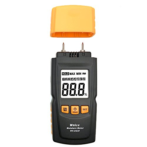 Digital Wood Moisture Meter WNICE with LCD Display Measure The Percentage of Water in Firewood, Furniture, Floor, Cordwood and Trees(Range: 0-40%) by WNICE