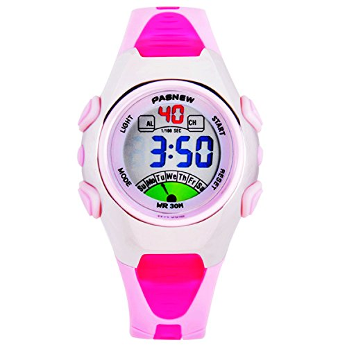 Kids Color Indiglo Night Light (Kids LED Waterproof Sport Digital Watch With Alarm Clcok Stopwatch Calendar Watches For Girls Boys Pink)