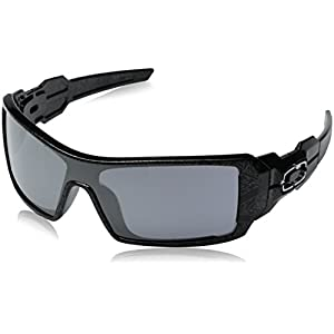 Oakley Men's Oil Rig Polished Sunglasses,Polished Polished Black/Silver Ghost Text/Black Iridium,one size