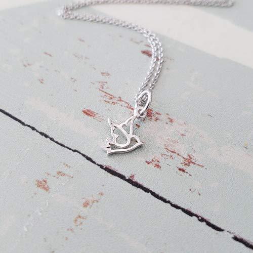 Necklace Dove Charm - Sterling Silver Tiny Dove Bird Charm Necklace 18