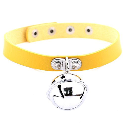 GigaMax Style Harajuku Rock Goth Bells Pendant PU Leather Choker Necklace [ Yellow ] (Tiffany Yellow Necklace)