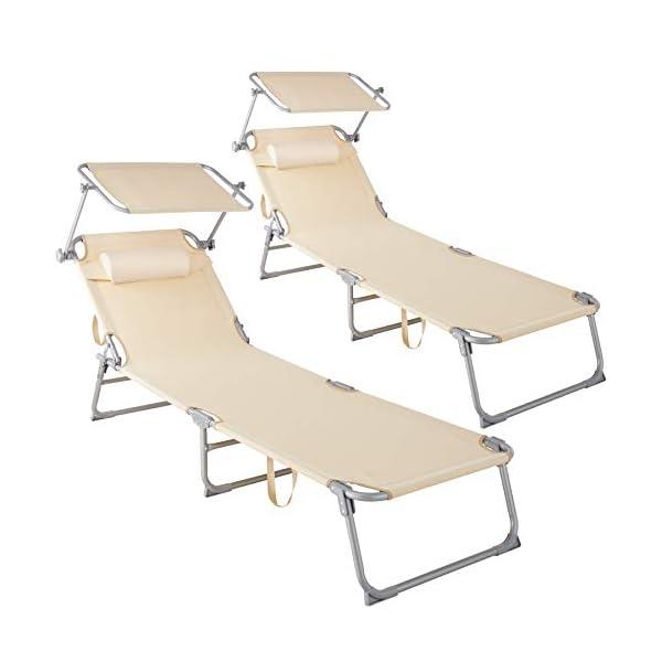 416qcf2aRRL TecTake 800773-2er Set Sonnenliege mit Dach, klappbare Strandliege, Gartenliege mit Kissen, Sonnendach verstellbar…