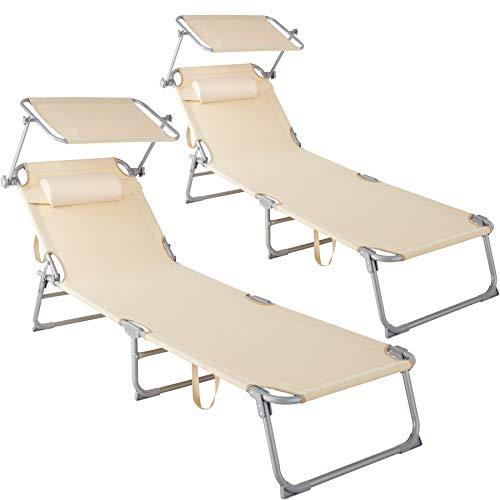 🥇 TecTake 800773 Set 2X Tumbona de Playa con Parasol
