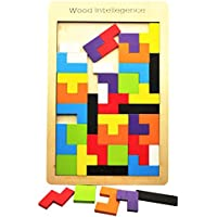Wooden Tetris Puzzle ,AWAkingdemiChildren Wooden Tangram Brain Teaser Tetris Puzzle Toys Learning Education Geometric Shape Jigsaw Game Puzzle kids Toy