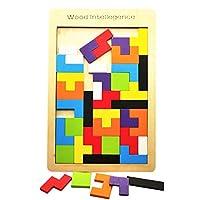 Wooden Tetris Puzzle ,AWAkingdemiChildren Wooden Tangram Brain Teaser Tetris Puzzle Toys Learning Education Geometric Shape Jigsaw Game Puzzle kids Toy