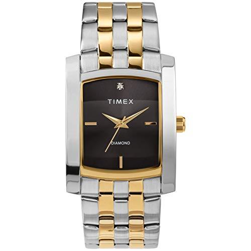(Timex Men's Dress Analog 33mm Stainless Steel Bracelet Watch with Genuine Diamond)