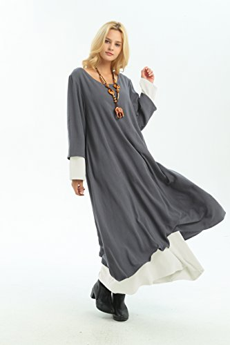 amp;RawWhite Size Clothing Linen Double Plus Anysize layer F156A Retro Fall Dress Gray Winter amp;cotton panzB6wOxq