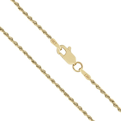 Honolulu Jewelry Company 14K Solid Yellow Gold 1mm Rope Chain Necklace - 22 Inches