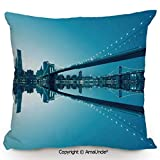 SCOXIXI Decorative Square Throw Pillow Case with Cotton and Linen,NYC Landscape Manhattan Skyline Panorama Monochrome Picture Modern Home Artwork,W16xL16 Inches