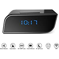 KAMRE Mini Wi-Fi Hidden Camera Clock Wireless Night Vision Spy Camera Full HD 1080P App Real-time Video Remotely Monitoring Home Security Nanny Cam Black 12 Hour Time Table Clock