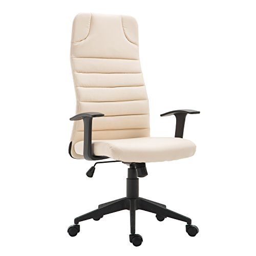 HOMCOM High Back Ergonomic Desktop Computer Chair with Lumbar Support and Arms - Cream White by HOMCOM