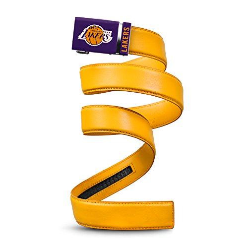 "Mission Belt NBA Los Angeles Lakers, Gold Leather Ratchet Belt, Medium (Up to 35"")"