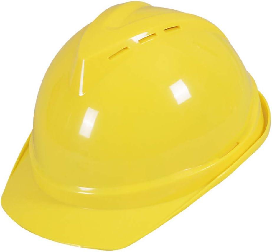 Casco de Seguridad ABS Casco, Casco de Seguridad Industrial de Tipo V Transpirable, Casco de Trabajador de construcción, Perilla Ajustable + Amortiguación Shock + Cap Buckle Yellow