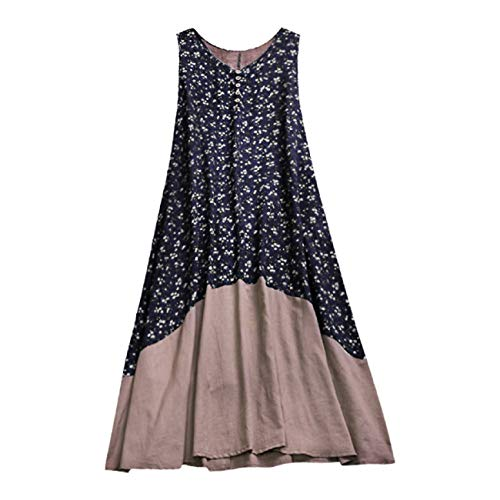 FAPIZI Womens Plus Size Cotton Linen Casual Sleeveless Dresses Vintage Patchwork Printed Loose Boho Maxi Dress Navy ()