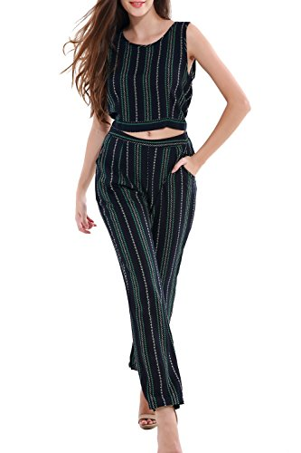 Crop Pants Suit (DmsBanga Women 2 Pcs Striped Printed Jumpsuit Set Sleeveless Tank Top Long Pants with Pockets)